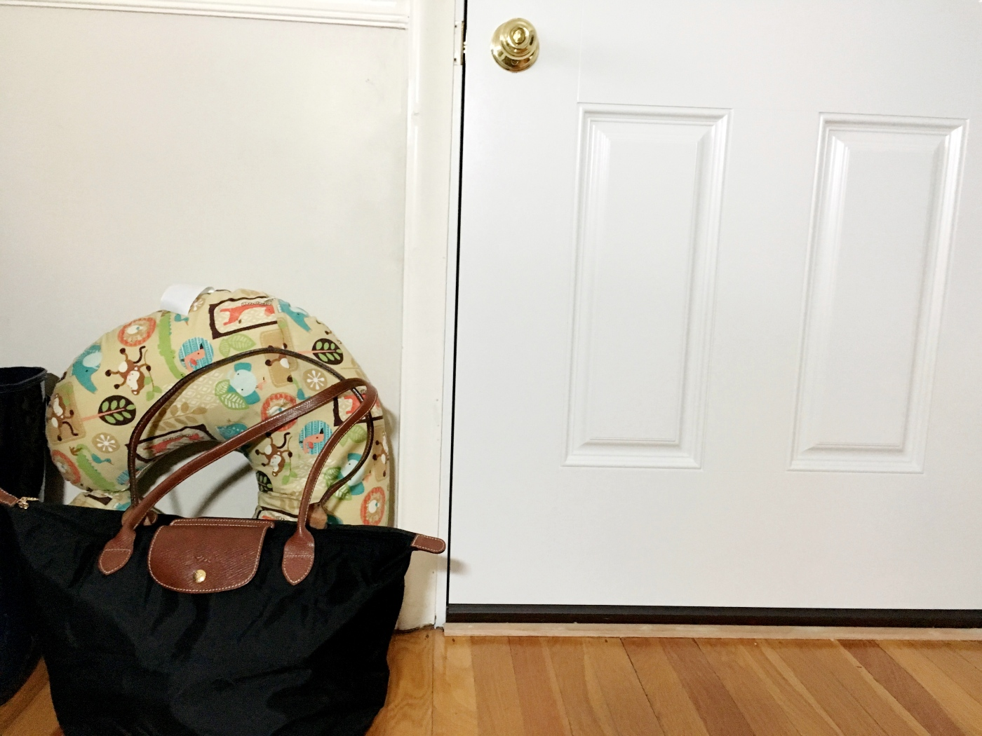 Labor and delivery bag at the door