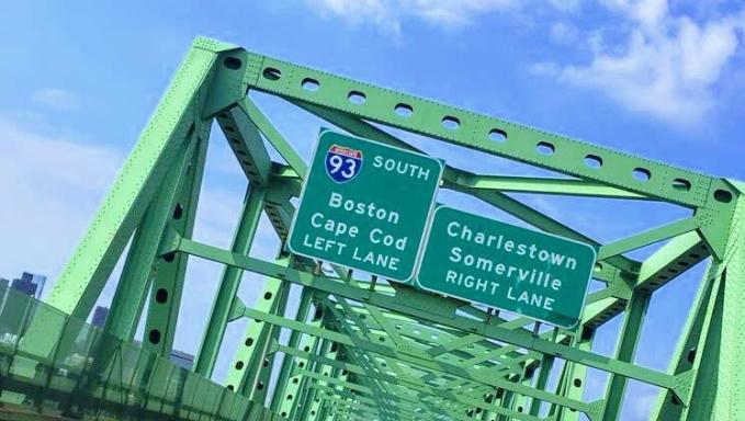 Entering Boston bridge/sign