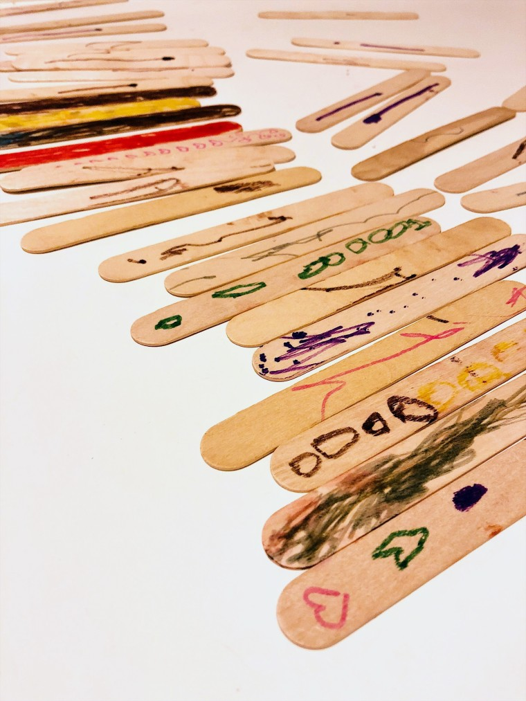 Popsicle stick project while soloparenting
