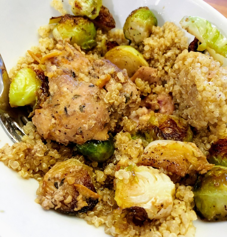 Chicken, quinoa, brussel sprout crockpot dinner