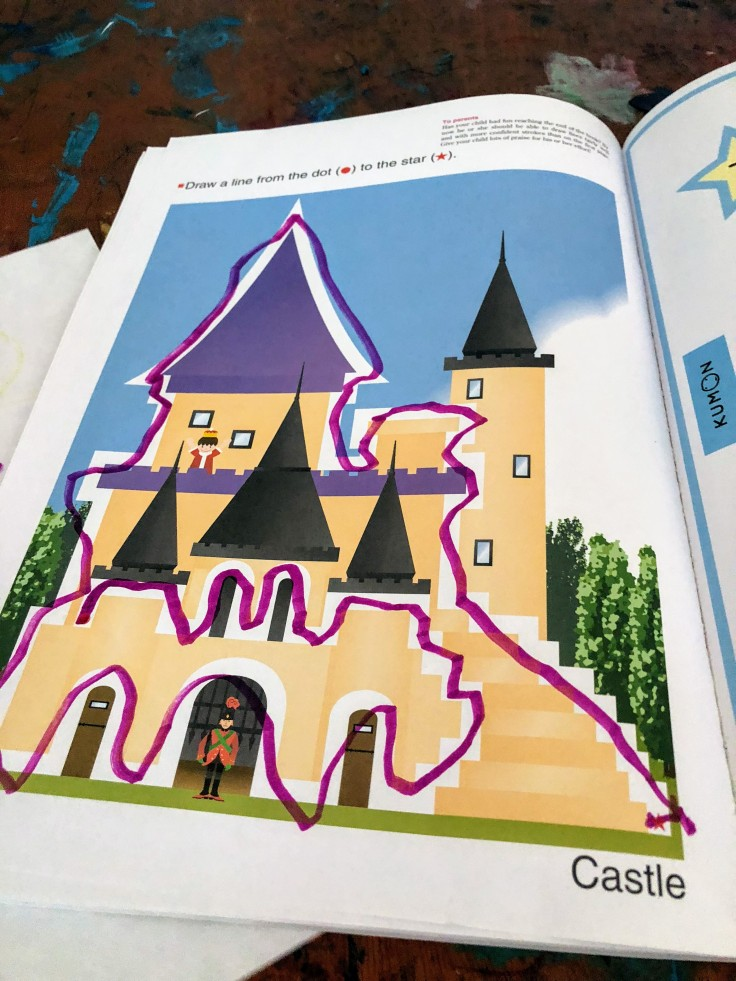 Workbook page of a castle