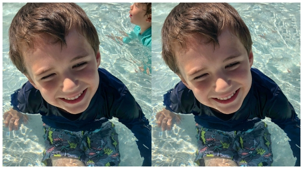 Reece at the pool - photo editing w/ retouch