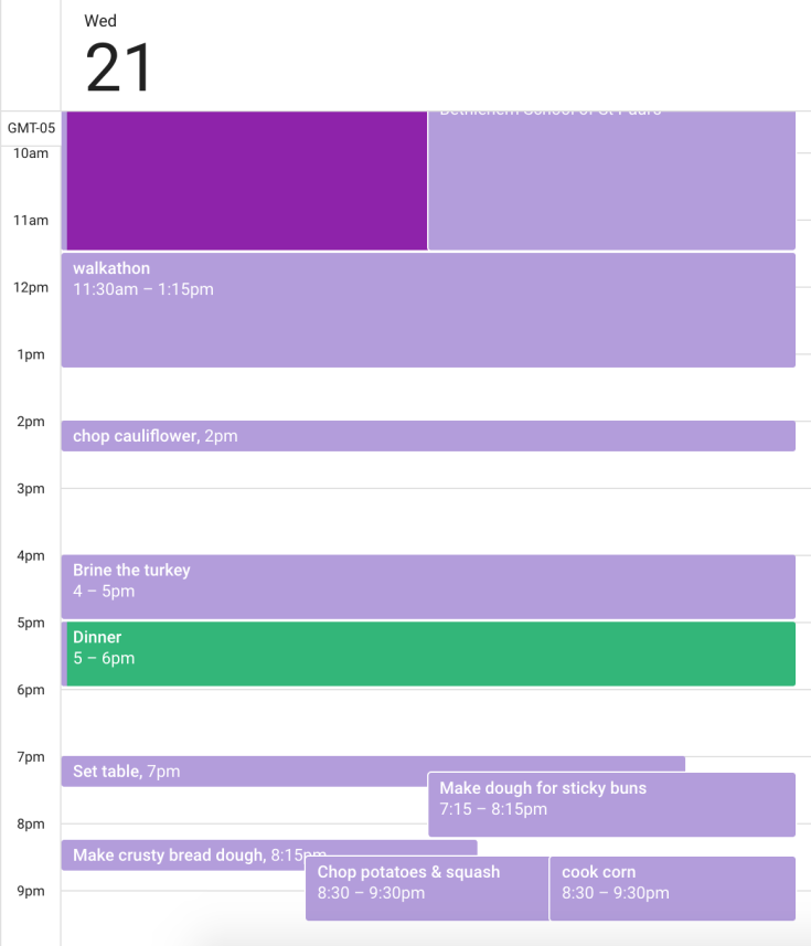 Pre-Thanksgiving google calendar