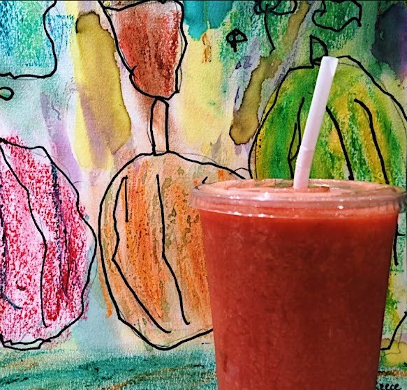 smoothie with kid art background