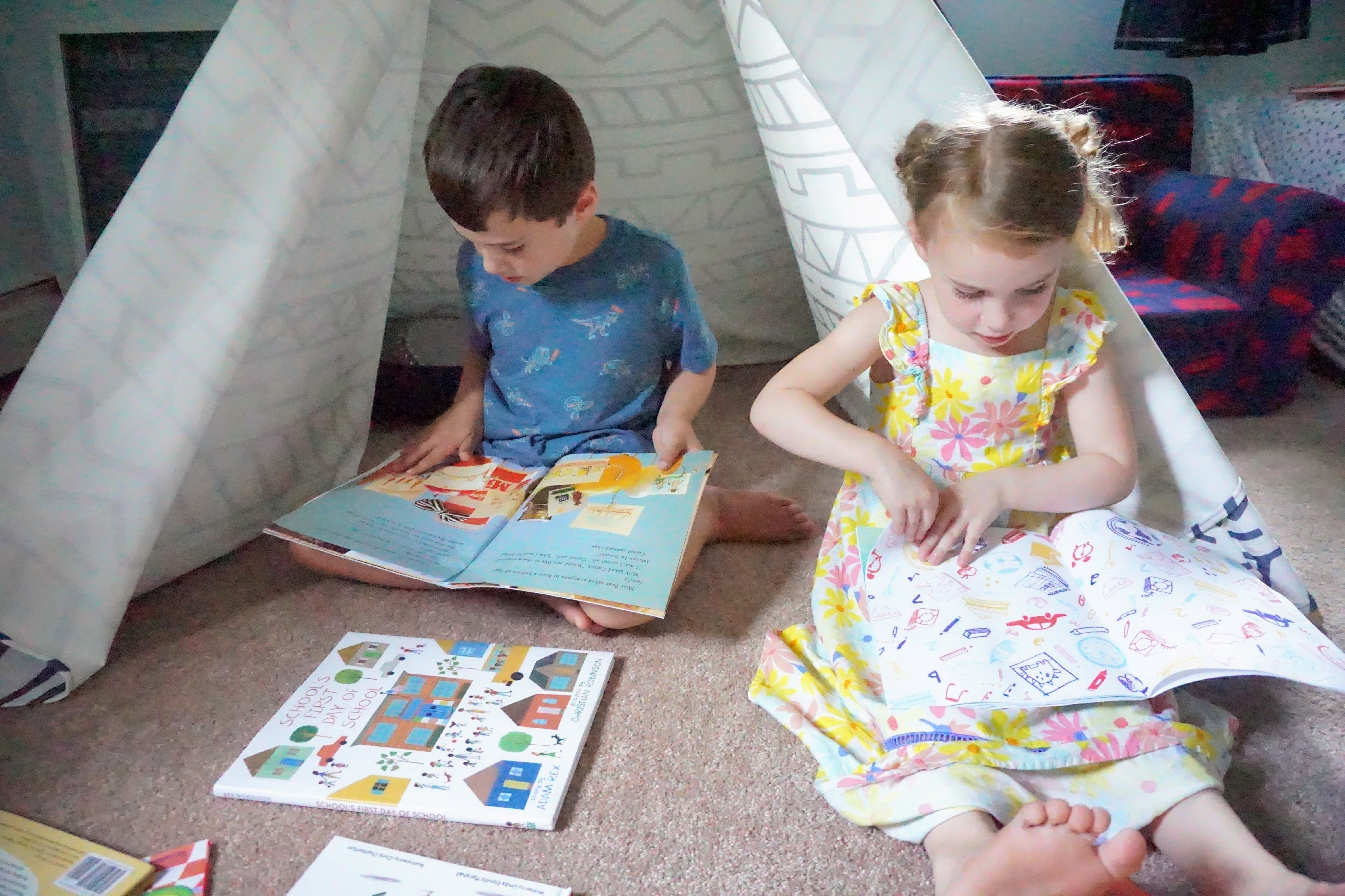 Reece and Kat reading back to school books