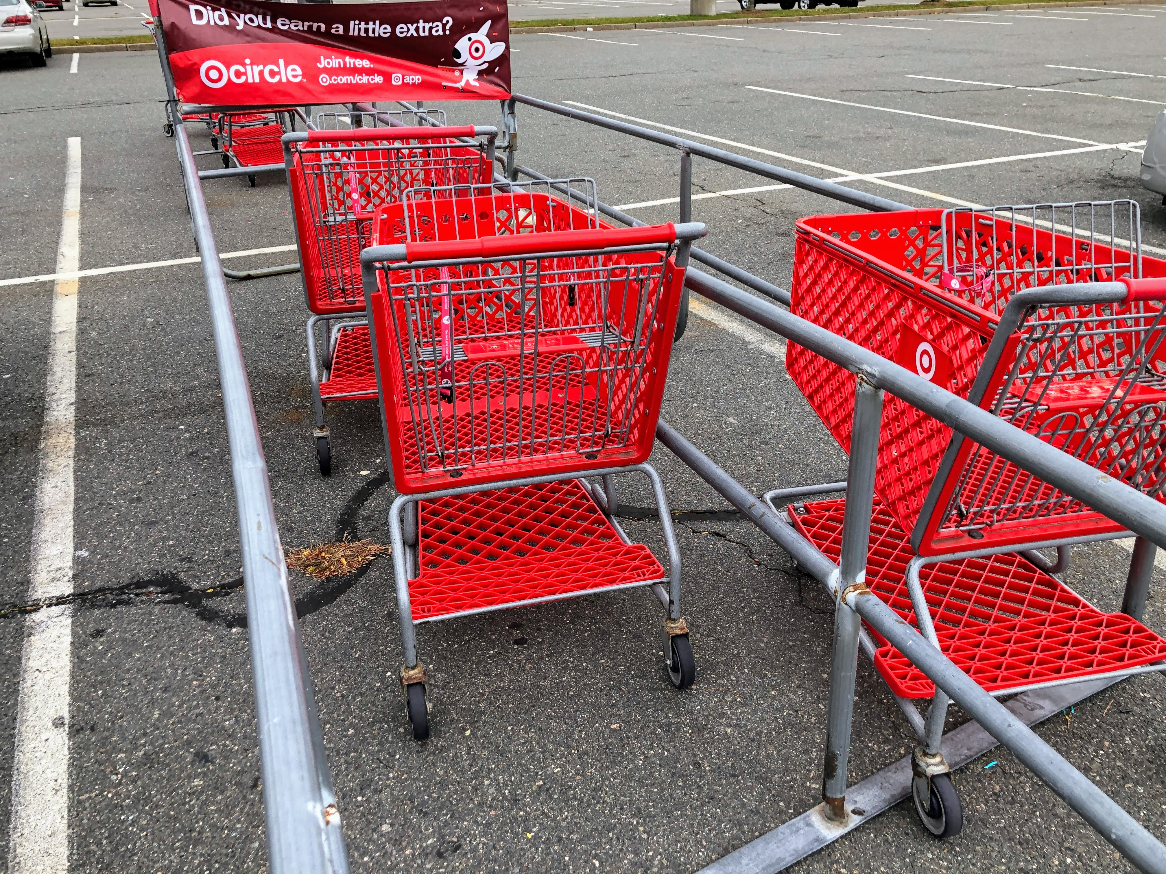 Target shopping carts in parking lot